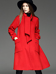 Women's Casual/Daily Simple Trench Coat,Solid V Neck Long Sleeve Winter Red Wool / Polyester Medium