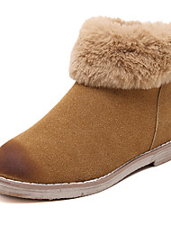 Women's Boots Winter Comfort Leather Fur Office & Career Casual Flat Heel Zipper Black Brown Almond Other