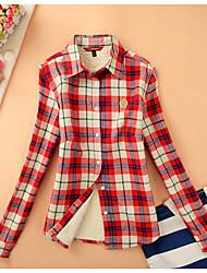 Feminino Blusa Casual Vintage Inverno,Estampa Colorida Lã Decote Redondo Manga Longa