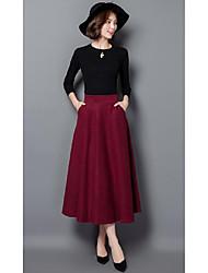 Damen Röcke,A-Linie einfarbigLässig/Alltäglich Vintage / Einfach Hohe Hüfthöhe Midi Elastizität Polyester Micro-elastisch Herbst / Winter