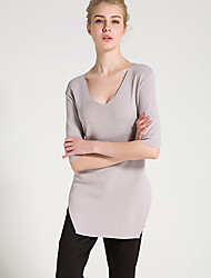 Damen Standard Pullover-Lässig/Alltäglich Einfach Solide Weiß Schwarz Grau V-Ausschnitt Kurzarm Kunstseide Frühling Sommer Mittel