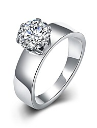 Ring Engagement Ring Stainless Steel Zircon Cubic Zirconia Fashion Silver Jewelry Wedding Party Halloween Daily Casual Sports 1pc