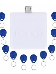 RFID 125KHz бесконтактная система Android мини-ридер Micro USB порт для чтения карт EM с 10шт Ид брелоками