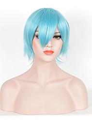 Hot Sale Women Bule Color Synthetic Wigs Short Straight Wigs