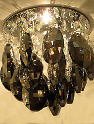 Chrome LED Recessed Light With Oval Crystal Champagne Smoke Grey Color