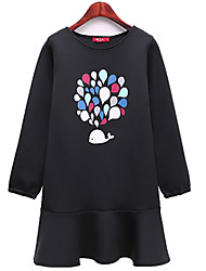 Fashion Large Size Women Long Sleeves Round Neck Loose Cartoon Printing Everyday Casual Dress
