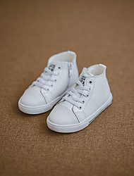 Boys' Sneakers Comfort Leather Fall Winter Casual Walking Comfort Lace-up Flat Heel White Black Flat