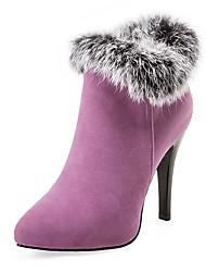 Women's Boots Fall / Winter Platform Fur / Fleece Party & Evening / Dress / Casual Stiletto Heel Fur Black / Purple / Red / White
