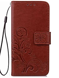 For Card Holder / Wallet / with Stand / Flip / Magnetic / Pattern Case Full Body Case Solid Color Hard PU Leather for One Plus three