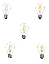 6W E26/E27 Ampoules à Filament LED A60(A19) 6 LED Haute Puissance 600LM lm Blanc Chaud Blanc Froid Décorative AC 85-265 V 5 pièces