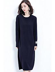 Feminino Tricô Vestido,Casual Simples Sólido Decote Redondo Altura dos Joelhos Manga Longa Azul / Vermelho / Marrom Lã Outono / Inverno