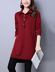Women's Casual/Daily Street chic Loose /Shirt Dress Solid Shirt Collar Asymmetrical Long Sleeve Two Ways Wear Blue /Red Cotton Fall /Winter