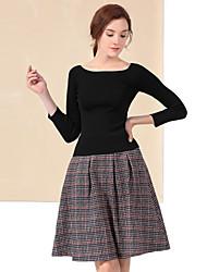 Tee-shirt Jupe Costumes Femme,Damier Décontracté / Quotidien simple Automne / Hiver Manches ¾ Bateau Noir Coton / Polyester