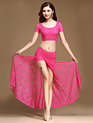 Belly Dance Outfits Women's Training Polyester / Lace 2 Piece Solid Short Sleeve Dance Costumes Black / Royal Blue / Fuchsia