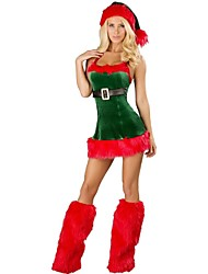 Christmas Baby Red and Green Velvet Classic Women's Cute Christmas Costume  Female  Santa Suit Cosplay