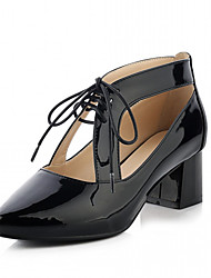 Women's Heels Spring Fall Leatherette Office & Career Casual Dress Chunky Heel Bowknot White Black