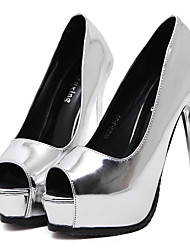 Damen-High Heels-Lässig-PUPlateau-Silber / Champagner