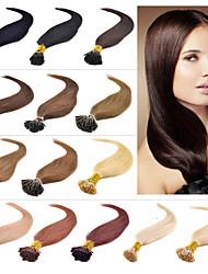 """16 """"-24"""" i Spitze-Haarverlängerungen des brasilianischen reinen Menschenhaarverlängerungen 0.4-0.5g / s prebonded Haarverlängerung 001"""