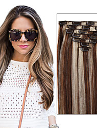 (7pcs/set & 8pcs/set) Full Head Set Brazilian Virgin Clip In Human Hair Extensions 70 g - 120 g Multiple Color For Women Select