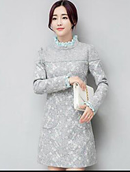 Sign 2016 new winter temperament ladies floral dress bottoming skirt was thin long-sleeved collar