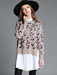 Mujer Regular Pullover Casual/Diario Simple,Estampado Beige Escote Redondo Manga Larga Algodón / Poliéster Otoño Medio Elástico
