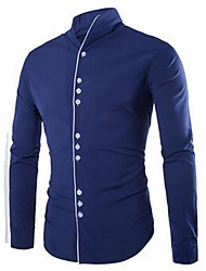 Men's Formal / Work Simple Shirt,Solid Standing Collar Long Sleeve Blue / White / Black Cotton Medium