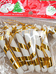 6PCS The Christmas Tree Ornaments Small Candy Canes 7CM Random Color