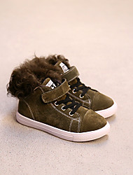 Boy's Sneakers Winter Comfort Leather Casual Flat Heel Magic Tape / Lace-up Black / Green / Coffee Others