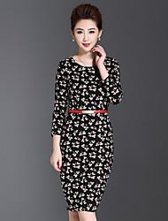 Gaine Robe Femme Décontracté / Quotidien / Grandes Tailles Chinoiserie,Fleur Col Arrondi Au dessus du genou Manches Longues Noir Autres