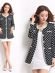 Spot new winter women's fashion wave point long sections coat jacket small fragrant wind temperament ladies!
