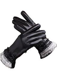 luva de tela de toque de couro (xl preto)