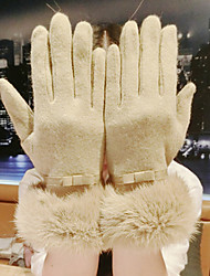 Women Lamb Fur Fingertips Wrist Length,Patchwork Casual Winter