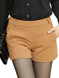 Women's Loose Shorts Pants Simple Solid Mid Rise Zipper Spring / Fall Woolen Pants