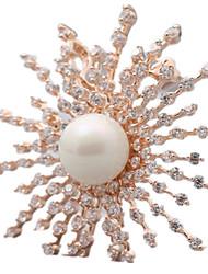 Feminino Broches Bijuterias Destaque Jóias de Luxo Europeu Pérola Formato de Flor Spot de Luz Multi-Colorida Jóias Para Diário