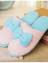 Women's Slippers & Flip-Flops Winter Others Fleece Casual Flat Heel Bowknot Blue Yellow Pink Purple Others
