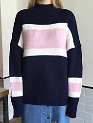 Normal Pullover Femme Décontracté / Quotidien simple,Couleur Pleine Rose Col Roulé Manches Longues Coton Automne Hiver Moyen