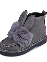 Women's Boots Winter Comfort Fur Casual Low Heel Black Gray