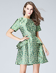 MMLJ Women's Casual/Daily Simple A Line DressJacquard Round Neck Above Knee Short Sleeve Green Polyester Summer Mid Rise Inelastic Medium