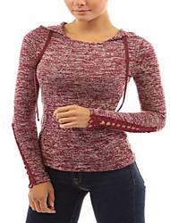 Damen Solide Einfach / Street Schick Ausgehen / Lässig/Alltäglich T-shirt,Mit Kapuze Alle Saisons Langarm Rot / Grau Kunstseide Dünn