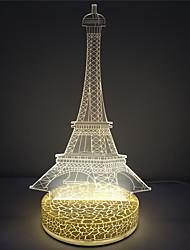 Efeito torre de base forma plástica 3D conduziu a lâmpada da noite
