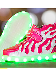 Kids Boy Girls Led Shoes Spring / Fall / Winter Comfort Leather Outdoor / Light Up Sneakers / Casual Low Heel LED Luminous Shoes with Wings / Pink