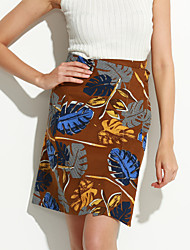 Women's Floral Blue / White / Black / Green Skirts,Simple Above Knee