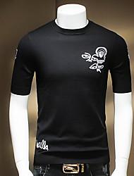 Tee-shirt Hommes,Couleur Pleine Sortie / Décontracté / Quotidien simple Eté Manches Longues Col Arrondi Noir Coton Moyen