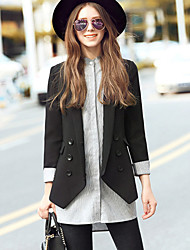 GLITTER  Women's Casual/Daily / Work Simple WinterSolid Shawl Lapel Long Sleeve Black Cotton / Polyester