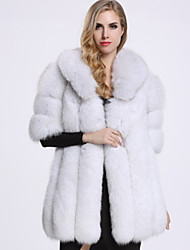 BF-Fur Style Women's Casual/Daily Sophisticated Fur CoatSolid Shirt Collar  Length Sleeve Winter White Fox Fur