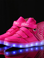 Girl's Sneakers Fall / Winter Comfort PU Casual Flat Heel Others / LED Pink / White / Gold / Royal Blue / Orange Skate Shoes / Others