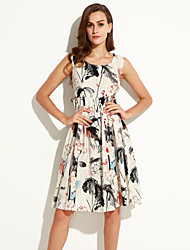 Summer/Fall Casual/Daily Women's Dresses Round Neck Sleeveless Vintage Chinese Style Printing Knee-length Dress