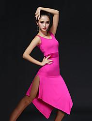 Dança Latina Vestidos Mulheres Actuação Algodão / Náilon Chinês Recortes 1 Peça Sem Mangas Natural VestidosDress
