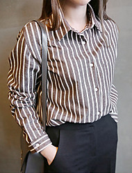 versão coreana do polo-garganta simples selvagem listrado de algodão de mangas compridas camisa blusa