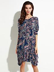 Long Pullover Femme Décontracté / Quotidien Chic de Rue,Imprimé Bleu Col Arrondi Manches Longues Coton / Polyester Automne Fin